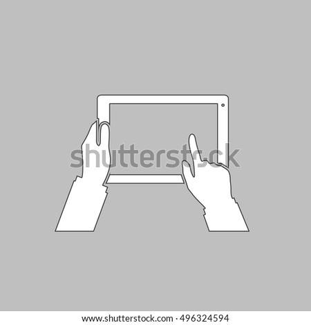 Use Tablet Simple line vector button. Thin line illustration icon. White outline symbol on grey background