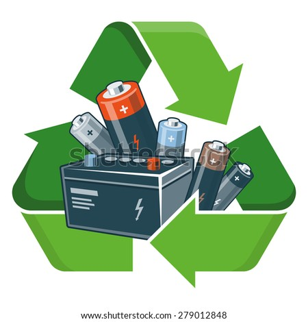 Used batteries with green recycling symbol in cartoon style. Isolated vector illustration on white background. Waste Electrical and Electronic Equipment - WEEE concept. - stock vector