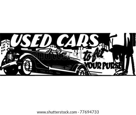Used Cars 4 - Retro Ad Art Banner - stock vector