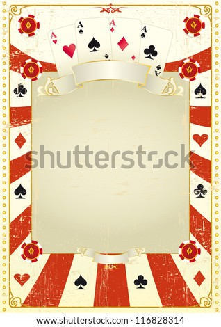 Used poker background. A grunge card frame for a poster. - stock vector