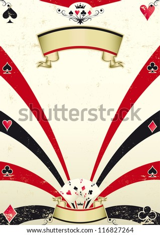 Used poker competition. An old poker background for you. - stock vector