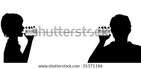 Useful copyspace as a man and woman talk and listen on tin can phone communication line. - stock vector