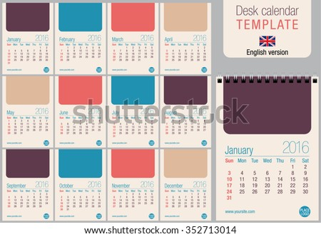 Useful desk calendar 2016 template in pastel colors, ready for printing on laser or offset. Size: 150mm x 210mm. Format A5 vertical. English version