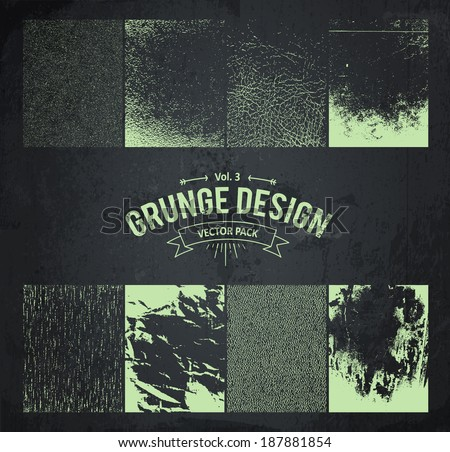 Useful grunge design elements. Dirty textures pack. Vector set part 3. - stock vector