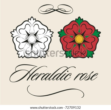 Useful heraldic rose with decorations - stock vector