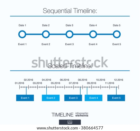 Useful infographic template. Set of graphic design elements: sequential and scaled timeline. Vector illustration.