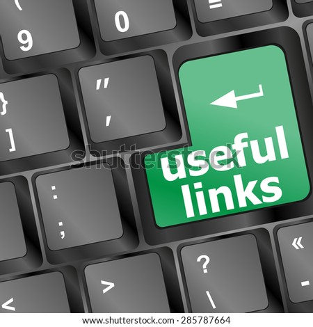 useful links keyboard button - business concept vector - stock vector