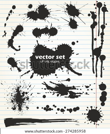 Useful set of black ink stains. Collection of grungy design elements. Vector template.  Paint spots of different size and shape on the background of notebook sheet - stock vector