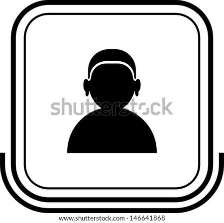 User button black square - stock vector