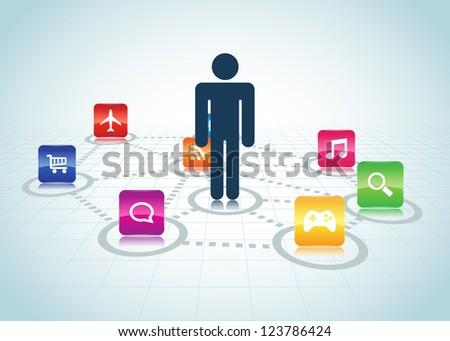 User centered design concept, EPS 10 vector illustration. / User Centered Design Apps - stock vector