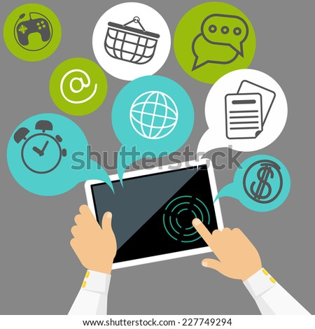 User hands hold digital tablet with applications for business, shopping, communication - stock vector