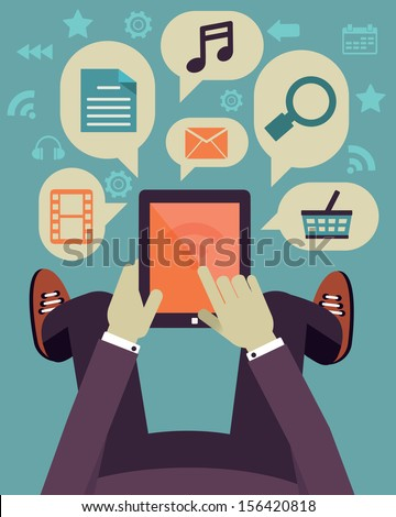 User hold mobile device. Tablet pc with applications. Flat design - vector illustration  - stock vector