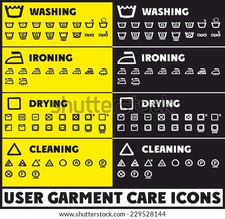 User huge garment care icons - stock vector