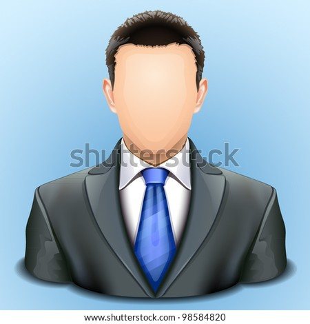 user icon of man in business suit - stock vector