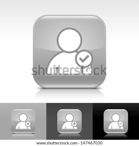 User icon set. Gray color glossy web button with white sign. Rounded square shape with shadow, reflection on white, gray, black background. Vector illustration design element 8 eps  - stock vector