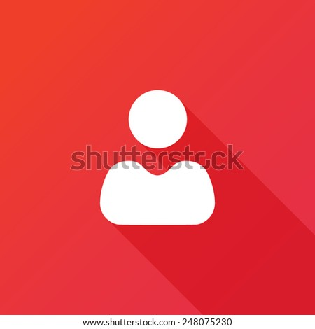User icon vector. Long shadow effect. Flat style design - stock vector