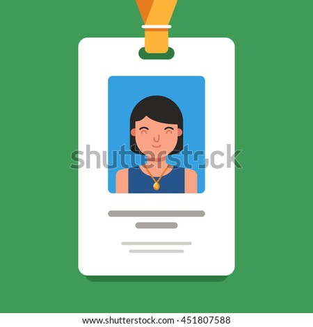 User id card with female photo. Business conference concept. Id card for businessman. Simple vector flat illustration on green background - stock vector