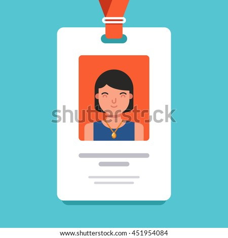 User id card with female photo. Business conference concept. Id card for businessman. Simple vector flat illustration on blue background - stock vector