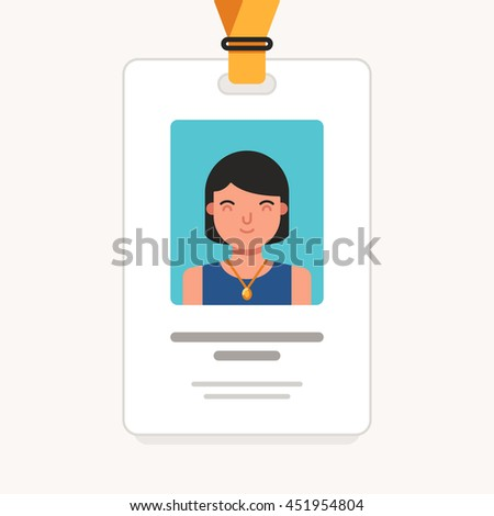 User id card with female photo. Business conference concept. Id card for businessman. Simple vector flat illustration - stock vector