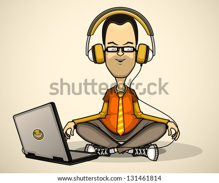 User in orange shirt and glasses with a laptop meditates - stock vector