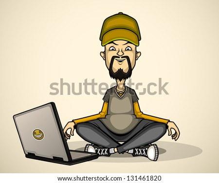 User in the cap with a laptop meditates - stock vector