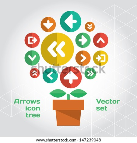 User interface arrows icons composition set like growing tree. Layered file - stock vector