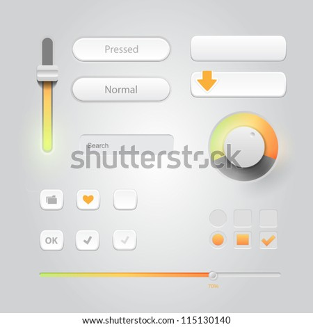 User interface elements: Buttons, Switchers, On, Off, Player, Audio, Video - stock vector