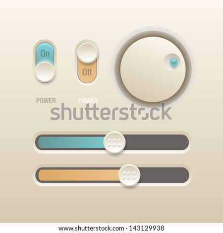 User interface elements for media player - stock vector