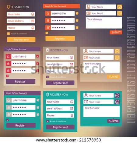 user interface elements sets of login and registration form flat design - stock vector