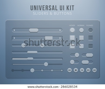 User interface elements with transparency. Button control, mobile sliders for website or web design - stock vector