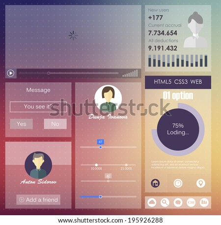 user interface in flat style.  vector design - stock vector