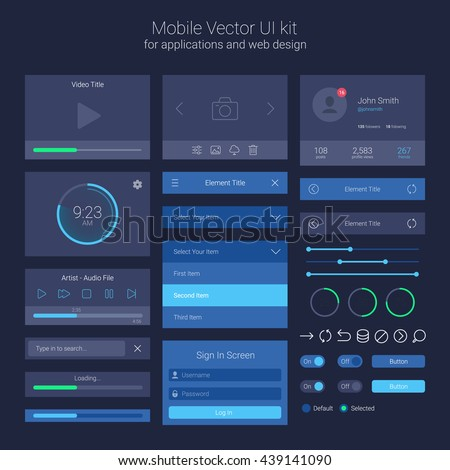 User Interface Kit, UI Elements, Vector EPS 10 Illustration - stock vector