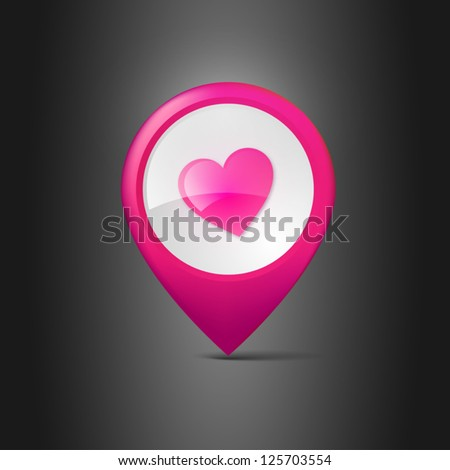 User interface map marker with heart - stock vector