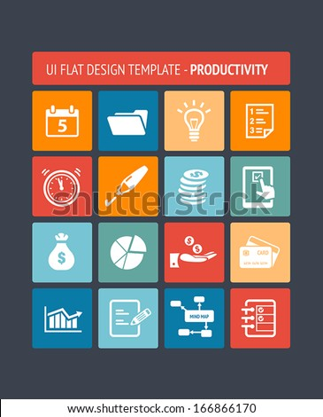 User interface template with productivity icons. - stock vector