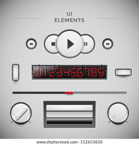 User interface web design elements. Media UI - stock vector