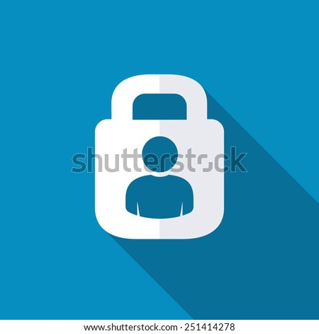 User login or authenticate icon, vector. Flat design style with long shadow - stock vector