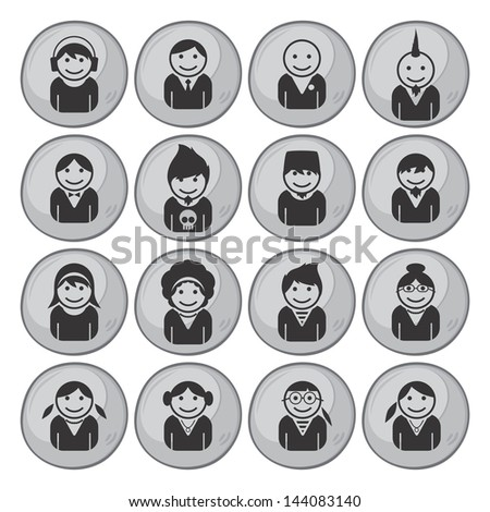 user picture grey button all set - stock vector