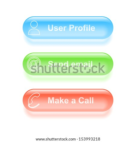 User profile glassy buttons. Vector illustration. - stock vector