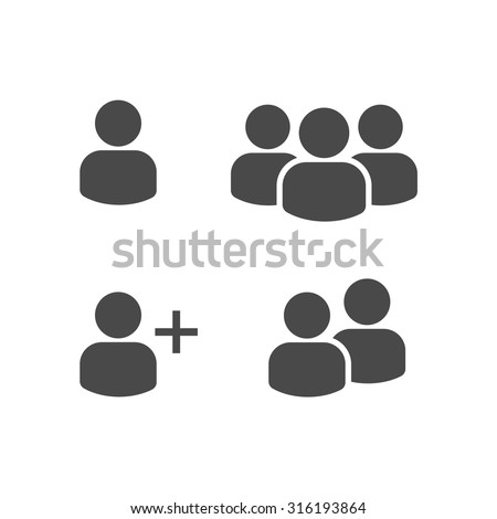 User Profile Group Set Icon Symbol. Vector - stock vector