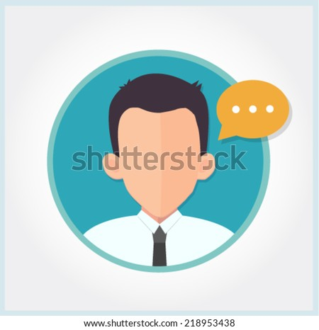 user profile icon with a message bubble - expert and support concept  - stock vector