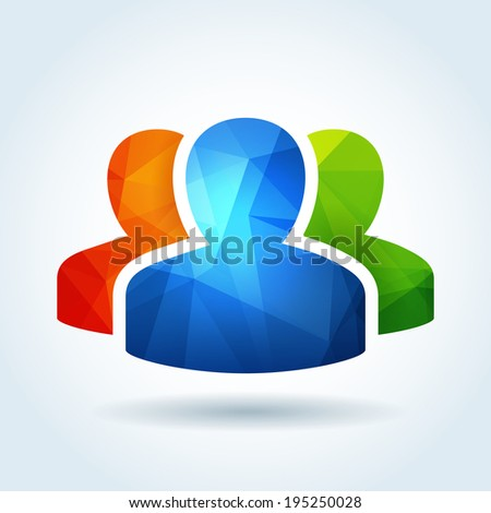 User profile icon with triangle abstract pattern - stock vector