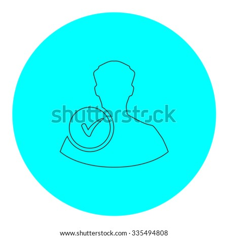 User profile web with check mark glyph. Black outline flat icon on blue circle. Simple vector illustration pictogram on white background - stock vector