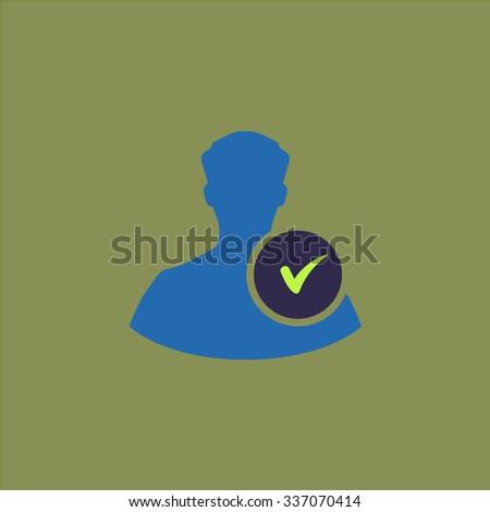 User profile web with check mark glyph. Icon Vector. Icon Picture. Icon Graphic. Icon Art. Icon JPG. Icon JPEG. Icon EPS. Icon AI. Icon FLAT. Icon SIMPLE - stock vector