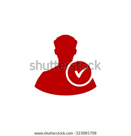 User profile web with check mark glyph. Red flat icon. Vector illustration symbol - stock vector