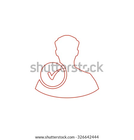 User profile web with check mark glyph. Red outline vector pictogram on white background. Flat simple icon - stock vector