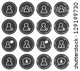 User retro labels set - businessman, customer service, staff avatars - stock vector