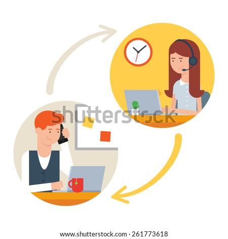 User support service, call center. Vector illustration - stock vector