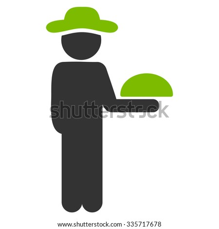User Waiter vector icon. Style is bicolor flat symbol, eco green and gray colors, rounded angles, white background. - stock vector