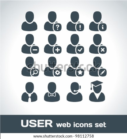 User Web Icons Set - stock vector