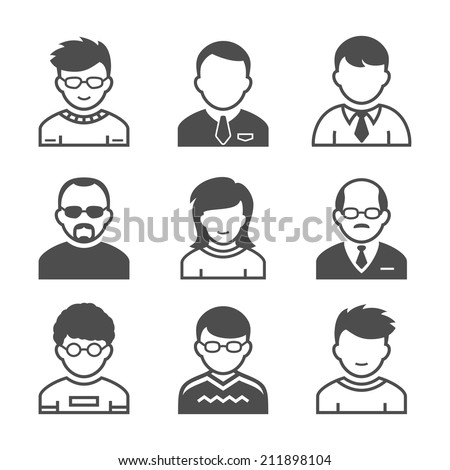 Users avatars. Occupation and people icons. Vector illustration. Simplus series - stock vector